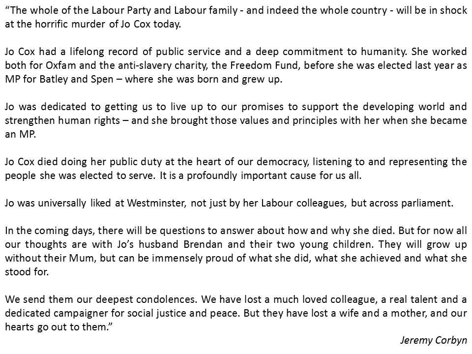 Jeremy Corbyn letter on Jo Cox death