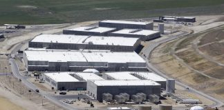 National Security Agency data gathering facility in Bluffdale, about 25 miles (40 km) south of Salt Lake City, Utah,
