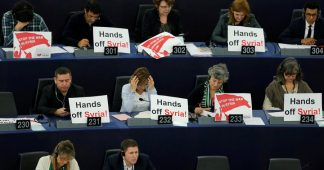 MEPs protest Syria strikes during Macron's call for EU unity