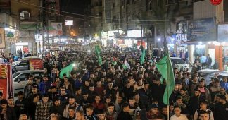 Claiming victory in 2-day rocket barrage, Hamas backers rally across Gaza