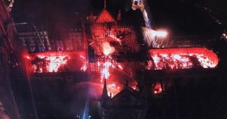 The burning of Notre-Dame cathedral in Paris