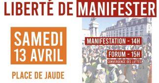 Manifestation pour la liberté de manifester – Samedi 13 avril rassemblements partout en France