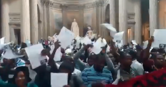 Undocumented 'Black Vest' migrant protesters occupy Pantheon in Paris, demand papers