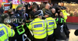 Scuffles with police in central London as outraged anti-Brexit protesters march on 10 Downing Street