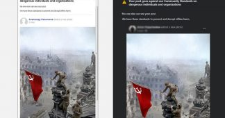 Freak V-Day glitch? Facebook engine CENSORS iconic photo with Soviet flag raised over Reichstag