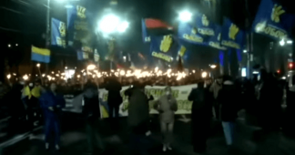 Ukrainian nationalists and neo-Nazis stage torchlight march in Kiev to mark Nazi collaborator's birthday (VIDEO)