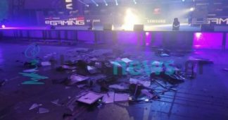 Gamers smash dozens of PC screens to celebrate end of Gameathlon and 85. TIF